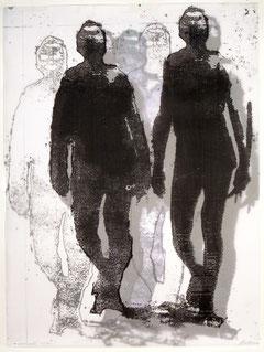 Karl Krüll: nomadic codes, 2002, 105 x 78 cm, Transparentkopiedoppel