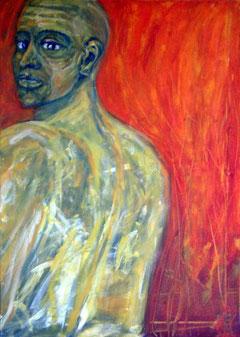 Mars, 50 cm x 70 cm, Gouache u. Acryl auf Baumwolle, 2005