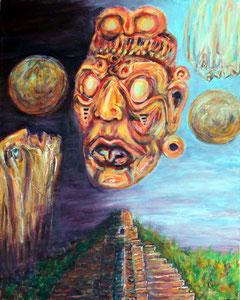 Der Kopf des blinden Sonnengottes der Maya, Kinich Ahau, schwebt oberhalb einer Maya-Pyramide umkreist vom Tag und Nacht der Sonne.