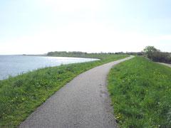 Der Westfriese Omringdijk führt direkt am Ferienpark Her Grootslag vorbei.