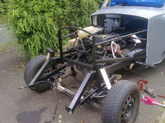 Engine in place, front suspension fitted (loosely)