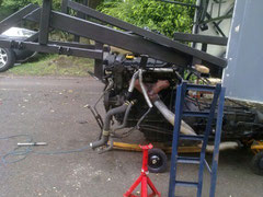 Engine under the car on home made trolley