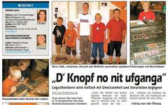 """""""D' Knopf no nit ufganga"""" (Bericht im Wann & Wo, 23. 10. 2004)"""
