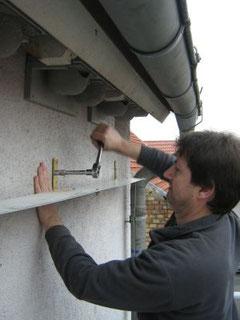 Montage Fassadenschutz (Foto: P. Rüffel)