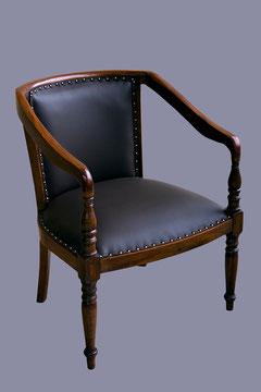 fauteuil retapissé de cuir pleine fleur