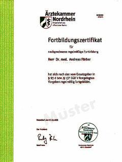 Fortbildungszertifikat der Ärztekammer Nordrhein