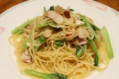 小松菜とツナのパスタ
