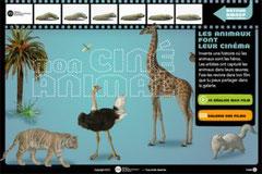 L'écran d'accueil du jeu : Mon ciné animal .