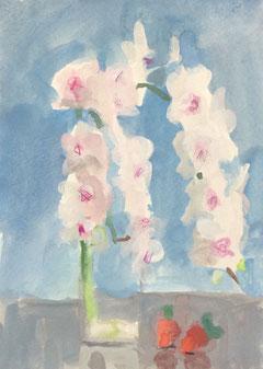 胡蝶蘭と苺 サムホール 不透明水彩