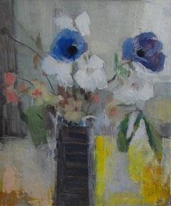 窓際の花 8号 油彩(描画中)