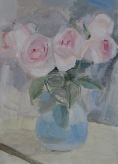 昨日はバラを描きました。 4号 油彩(途中です)
