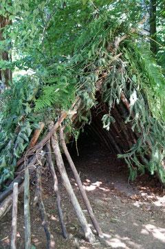 überlebenswichtig in der Wildnis. die Behausung im Survivalcamp. wird im Kurs selbst gebaut