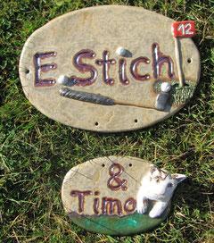 Keramik Türschild Namensschild Golf Katze  Geschenk Weihnachtsgeschenk hochwertige Handarbeit Geschenk zum Einzug Hausbesitzer  individuelle Anfertigung wetterfest frostfest