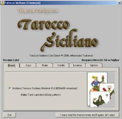 Schermata iniziale Tarocco Siciliano Card Games c-2006, Athanasios Tsakonas