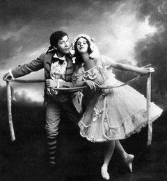 "Anna Pawlowa und Nikolai Legat, (1910) in ""La Fille mal gardée"""