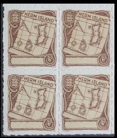 Herm Island: 1949 6d. value in corner block of four.