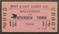 A Rolvenden to Tenterden Town Railway Ticket.