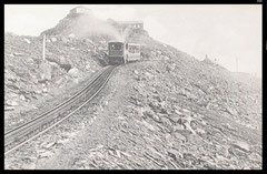 Snowdon Mountain Railway train, looking to the summit.: