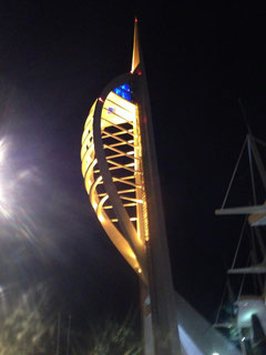 Spinnaker Tower lit up in Sam's Haven colours