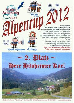 """Siegerurkunde im """"Alpencup"""""""