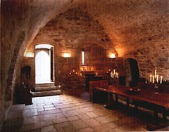 The vaulted entrance chamber at French castle B&B