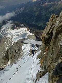 Bieschhorn, Abstieg, Westgrat, Lötschental