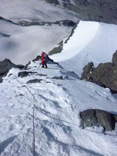 rimpfischhorn, Abstieg Rimpfischsattel