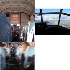 Kasimir, Cäsar und Fredi werfen einen Blick ins Cockpit der Tante Ju