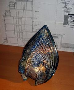 sculpture résine lapis lazuli fossile artiste