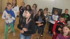Les 27 élèves de CE2-CM1-CM2 d'Hélène Boivert ont répété leur spectacle tout au long de la semaine