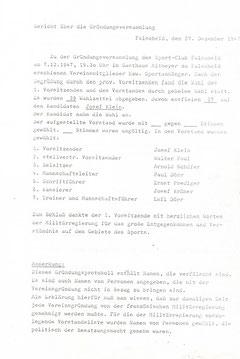 Gründungsbericht 27.12.1947