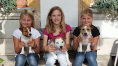 Chiara, Melissa und Jenny mit Baja, Laska und Belugo