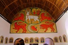 Le cerf blanc et les quatre lions.