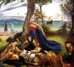Arthur, blessé après la bataille de Camlann, transporté sur l'île d'Avalon. La fée Morgane et ses soeurs veillant sur le roi mourant.