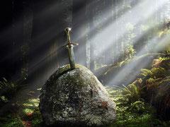 Excalibur fichée dans le rocher.