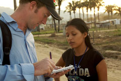 Interviewing a Venezuelan girl in an ´illegal´ settlement close to Barinas