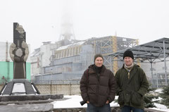 Ronald de Hommel and me in front of reactor four in Chernobyl, Ukraine. This reactor exploded on April 26th, 1986 and caused the biggest nuclear disaster ever.