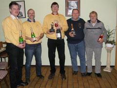 Sieger des Skatabends: Olaf, Hans-Jörg, Thomas, Burkhard und Dieter