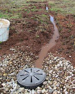 Fehlende Drainage und fehlendes Dachgefälle. Das überschüssige Wasser kann nicht abfliessen.