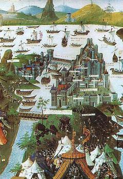 Belagerung Konstantinopels, Buchmalerei 1455, Nationalbibliothek Paris