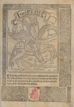 """Titelbild des """"Tirante"""" in der spanischen Übersetzung Valladolid 1511"""