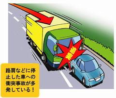 高速道路の路肩停止車へ追突