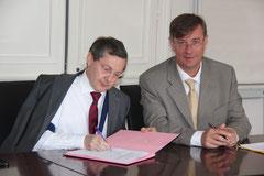 Philippe Bas et Jean-Michel Houllegatte le 20 juin à Cherbourg