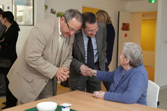 Louis Desloges et Philippe Bas en visite à l'EHPAD de la Bucaille à Cherbourg