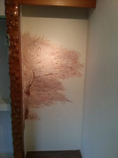 床の間に咲いた桜
