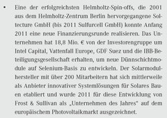 """Helmholtz-Gemeinschaft, """"Erfolgreiche Ausgründungen mit Preisen geehrt"""" (Auszug), Februar 2012"""