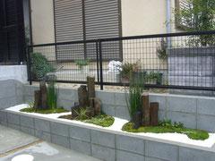 奈良県 大和郡山市 造園・植栽工事 施工事例 枯山水風 花壇