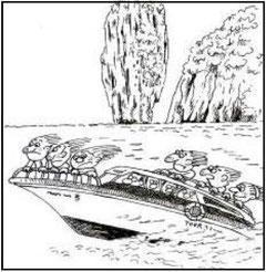 時速90kmの高速艇で007島へ上陸