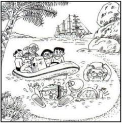 ゾディアック、テンダーで上陸し、浜辺でシュノーケルをつけて水泳