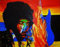 Neben vielen Werken zeigt Ella Kleedorfer auch das farbenprächtige Portrait von Jimmy Hendrix. Foto: Stadt Krems.